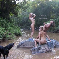 Group Of Girls Playing In The River - Nude Outdoors , Group Of Girls Playing In The River, Mermaids On The Rocks, Howling At The Moon, Three Girls On Creek, Small Titties
