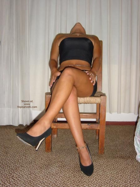 Pic #1 Black Mini Skirt And High Heels
