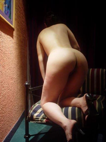 Kneeling Naked On Chair - Heels , Kneeling Naked On Chair, Black High Heels