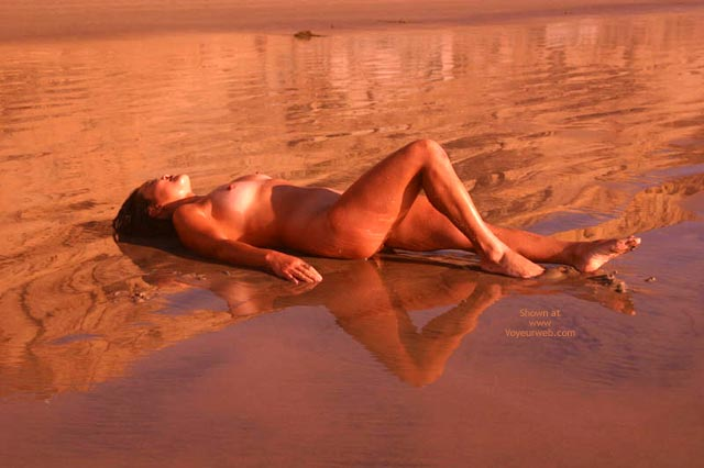 Tanned Tits - On Beach, Water , Tanned Tits, Naked On The Beach, Reflection In The Water, Nude At Sunset On Beach