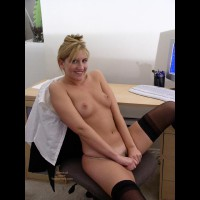 At The Computer - Navel Piercing, Small Tits, Stockings, Sexy Panties , At The Computer, Black Stockings, Pulling Down Panties, Office Boobs, Small Titties, On Office Chair, Blonde With Dark Pubic Hair, Undressed For Work, Belly Button Ring