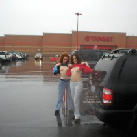 Rain In The Park Lot - Flashing , Rain In The Park Lot, Two Girl Topless In The Park, Public Flashing, Double Flash In Weather