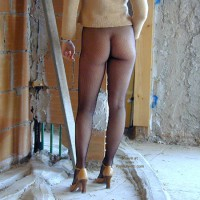 Fishnet Tights - From Behind, Long Legs , Fishnet Tights, Construction, Long Legs, Fishnets On Construction Site, Brick Wall, From Behind