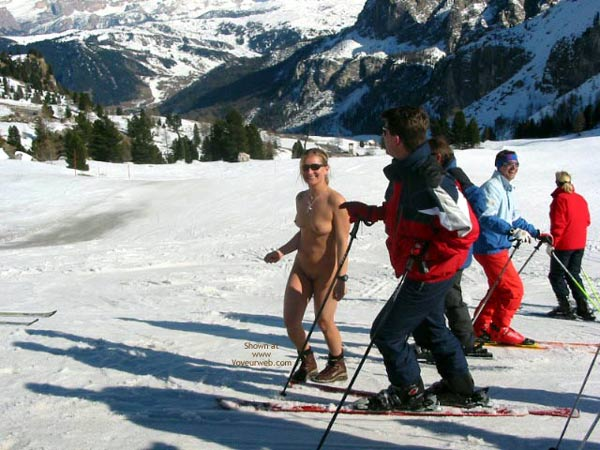 Naked Skiing , Naked Skiing, Exhibitionist Girl, Naked In Snow, Tits In The Snow