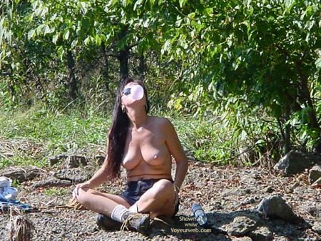 Topless - Nude Outdoors, Perky Tits, Topless , Topless, Blowing Bubbles, Outdoors, Perky Tits, Sun Glasses, Blu Jeans Shorts