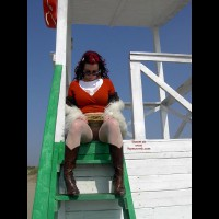 Pussy Flash - Red Hair , Pussy Flash, Upskirt At Beach, Red Hair, Cowboy Boots, Lifeguard In Stockings, Tower Tease In Leather Boots