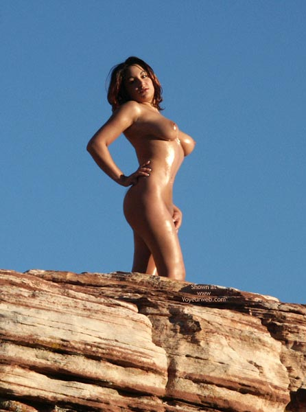 Fully Nude Outdoors - Large Breasts , Fully Nude Outdoors, Queen Of The Mountain, Large Breasts, Wet On Rock