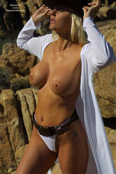 Busty Blonde Milfs - Large Breasts, Nude In Public, Thong , Busty Blonde Milfs, Perky Nips In Public, Topless In A White Thong, Large Breasts, Open Shirt Tits
