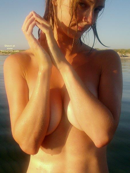 Seductive - Beach Voyeur , Seductive, Beach, Naked And Wet, Arms Over Boobs