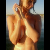 Seductive - Beach Voyeur , Seductive, Beach, Naked And Wet, Arms Over Boobs