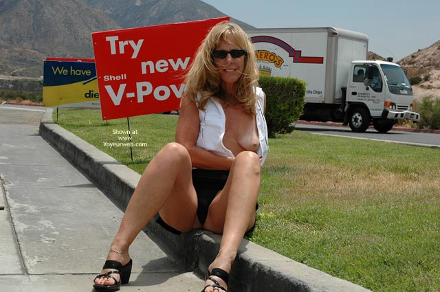 Roadside Attraction - Sunglasses, Upskirt , Roadside Attraction, Flashing Tit, Upskirt, Sunglasses, Black Mini Skirt, Shirt Unbuttoned