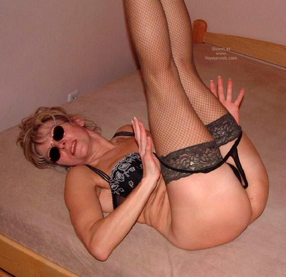Sun Glasses - Bra , Sun Glasses, Black Bra, Black Fishnet Stockings, Legs In The Air, Taking Off Panties, Taking Black G String Off, Undressing In Bed, Black Lace Bra, Posing On Bed
