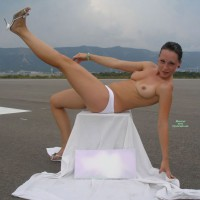 Topless Girl Outdoor On Runway - Brunette Hair, Firm Tits, Hard Nipple, Topless, Naked Girl, Nude Amateur , Leaning Over Sitting On Box, White Panties, Stunning Firm Tits, Pert Breasts, Nude Outdoors, Nude In Heels, Red Earrings