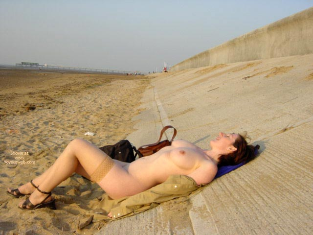 Brunette Girl In Beach , Brunette Girl In Beach, Tan Stockings, Wearing Stockings On A Beach, Lying Back