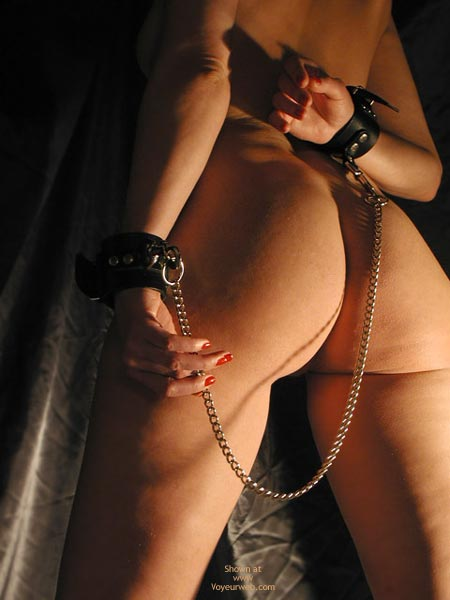 Chained Arms - Sexy Ass , Chained Arms, Light Bondage, Ass Shot, Naked In Chains, Red Nails