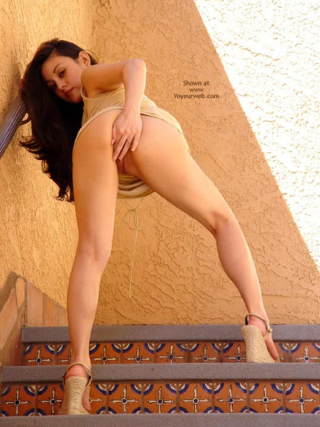Stairs - From Behind, Nude In Public, Stairs, Looking At The Camera , Stairs, Peek, Pussy Flash In Public, Pussy Play In Public, Flash On The Staircase, Covering Pussy With Fingers In Public, Looking At Camera, From Behind
