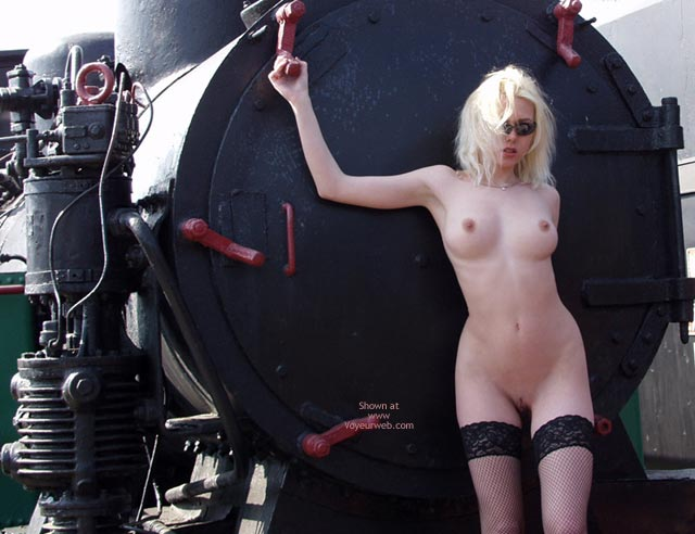 Naked Blonde With Machinery - Thigh Highs , Naked Blonde With Machinery, Thigh Highs, Cherry Red Nips