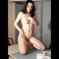 Naked Girl Kneeling On A Desk - Dark Hair, Full Frontal Nudity, Full Nude , Naked Girl Kneeling On A Desk, Dark Hair, Fully Nude, Frontal Shot, Dinner Is Ready, Kneeling On Table, Full Boobs