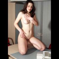 Naked Girl Kneeling On A Desk - Dark Hair, Full Frontal Nudity, Full Nude , Naked Girl Kneeling On A Desk, Dark Hair, Fully Nude, Frontal Shot, Dinner Is Ready, Kneeling On Table, Full Boobs