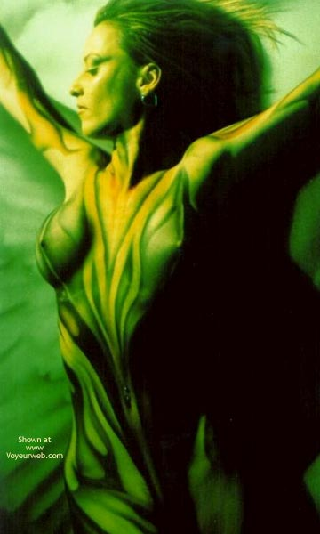 Green Body - Body Paint, Sexy Body , Green Body, Projected Light On Skin, Arty, Body Paint, Looking To The Side