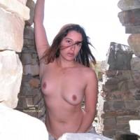 Topless Girl Standing Outdoors - Brown Eyes, Dark Hair , Topless Girl Standing Outdoors, Small Breasts Small Nipples Brown Eyes, Pouting Lips Long Dark Hair