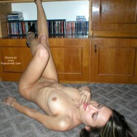 Nude In Heels On Carpet , Nude In Heels On Carpet, Nude Brunette On Back, Naked On Carpet, Girl Wearing High Heels