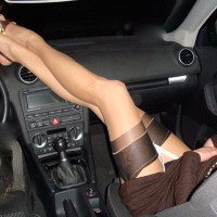 Wife's Very Long Sexy Legs On Dash - Long Legs, Sexy Feet, Sexy Legs , Hot Wife, Feet On Dash Board, Black And Yellow Cfm Shoes, White Suspender Belt, Very Long Legs, Arched Feet, Long Legs Up, Brown Knit Dress, Elegant Heels And Hose, Woman In Car