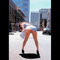 Flashing Ass In Public - Bend Over, No Panties , Flashing Ass In Public, Blue Dress, Public Street, Bent Over, Rear Pussy Shot, No Panties, Blue Sundress