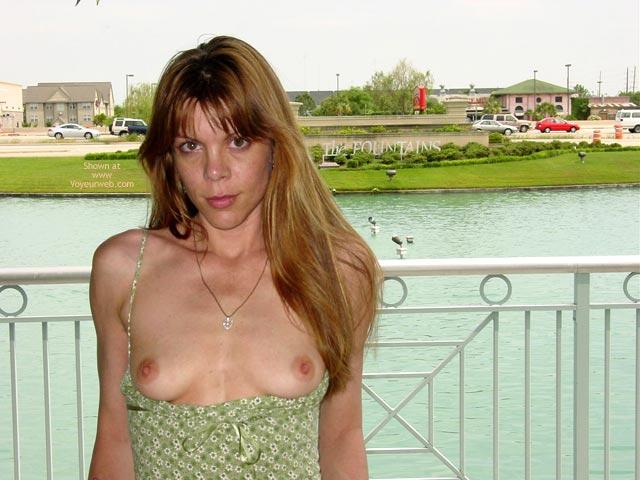 Green Dress Reveals Little Titties - Nude In Public, Perky Tits , Green Dress Reveals Little Titties, Nude In Public, Brown Eyes Looking At You, Perky Tits