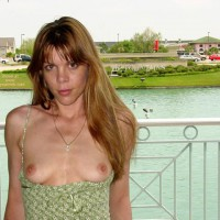 Green Dress Reveals Little Titties - Nude In Public, Perky Tits , Green Dress Reveals Little Titties, Nude In Public, Brown Eyes Looking At You, Perky Tits
