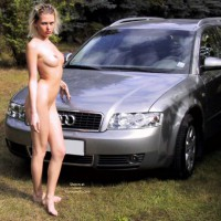 Outside - Nude Outdoors, Naked Girl , Outside, Naked, Take The Picture Look, Girl W/car, Stiff Nipples, Firm Boobs, Killer Body