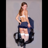 Blue Suit - Stockings , Blue Suit, Stockings, Office Chair