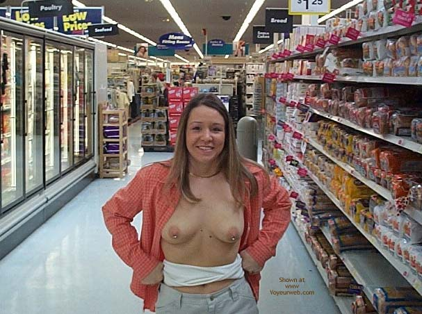 Supermarket Flash , Supermarket Flash, Pierced Tits In Public, Smiling Topless Woman In Supermarket, On Display At Walmart