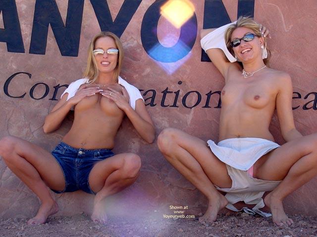 Two Girls - Girls, Sunglasses , Two Girls, Topless Girls, Sunglasses, Short Jeans, Summer Scene, Pointed Perkies