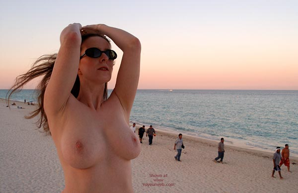Topless On Beach - At The Beach, Large Breasts, Naked Outdoors, Nude In Public, Nude Outdoors, Topless Beach , Topless On Beach, At The Beach, Large Breasts, Naked Outdoors, Nude Outdoors, Nude In Public, Woman Wearing Glasses, Oval Nipples