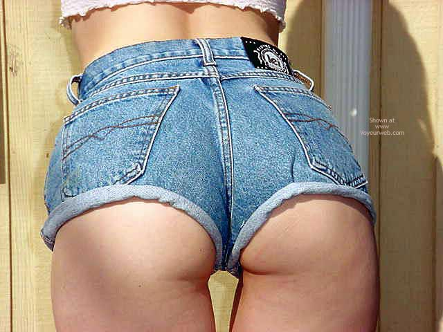 Short Jean Shorts - Bend Over , Short Jean Shorts, Showing Ass Cheeks, Bent Over, Leaning Up Against Wall Showing Ass