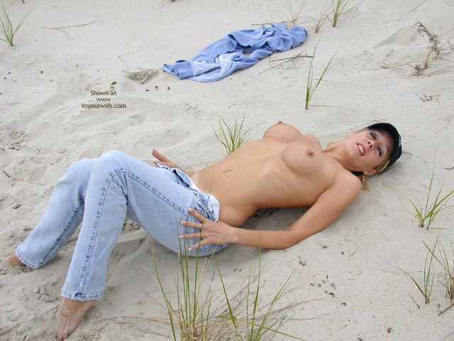 Bare Beach Boobs - Erect Nipples , Bare Beach Boobs, Topless Jean Cutie, Undressing In Public, Wearing A Hat, Real Breasts, Getting Naked On The Sand, Erected Nipples