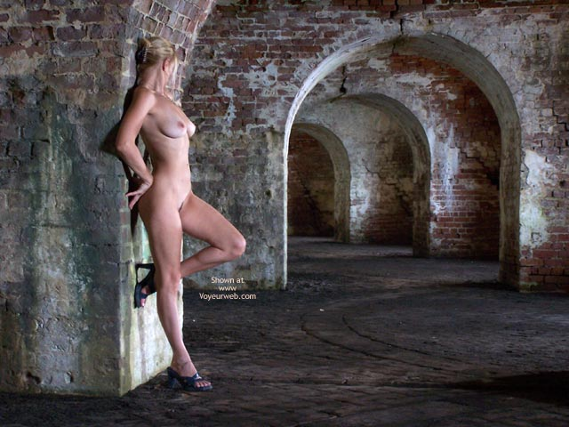 Naked In Castle - Artistic Nude , Naked In Castle, Nude Archway, Artistic, Nude Girl Standing In Abonded Building, Side View Of Boobs