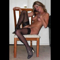 Chair - Chair, Heels, Stockings , Chair, Black Stockings, High Heels, Tall  Slim, Polaroid, Naked Pose In Stockings On Chair