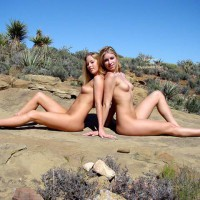 Nude Blondes Sitting Back To Back - Puffy Nipples , Nude Blondes Sitting Back To Back, Two Girls Nude Outdoors, Two Nudes Sitting Outdoors On Rocks, Two Blonde Women, Puffy Nipples, Naked In The Desert, Small Pert Boobs