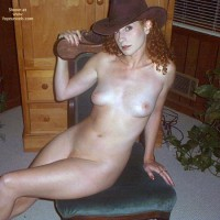 Cowboy Hat - Cowboy Hat, Small Boobs, Looking At The Camera , Cowboy Hat, Looking Into Camera, Naked With Closed Legs, Small Perky Boobs, Seated, Small Boobs, Naked With Hat
