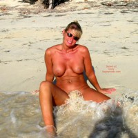 Buff Beach Babe - Exposed In Public, Water, Beach Voyeur , Buff Beach Babe, Sunburned Blonde In Ocean, Sitting On The Sand, Waves Splashing On Nude Girl, Beach, Water, Public, Sandy Wave Licks Her Pussy