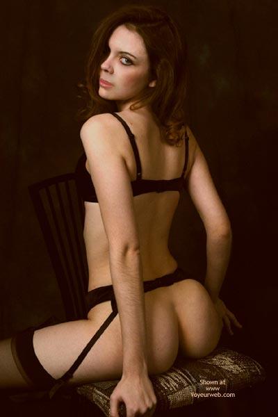 Stradling Chair Looking Over Shoulder - Bra, Looking Over Shoulder, Stockings , Stradling Chair Looking Over Shoulder, Black Garter, Black Stockings, Black Bra