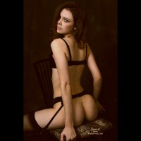 Stradling Chair Looking Over Shoulder - Bra, Looking Over Shoulder, Stockings , Stradling Chair Looking Over Shoulder, Black Garter, Black Stockings, Black Bra