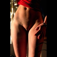 Female Torso Frontal View - Artistic Nude, Landing Strip, Pubic Hair, Tattoo , Female Torso Frontal View, Artistic Lighting, Pubic Hair, Landing Strip, Light And Dark, Prominent Pussy Lips, Tattoo, Red Top