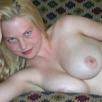 Nude Girlfriend - Blonde Hair, Blue Eyes, Large Breasts, Tan Lines, Topless, Looking At The Camera, Naked Girl, Nude Amateur , Natural Pale Blonde Bares Breasts, Large Round Tits, Pink Areolas, Closeup Topless Blonde Laying Across Sofa One Elbow, Indoor Tits, No Tan Lines, Lying On Right Side, Classic Pose Lying On Right Side