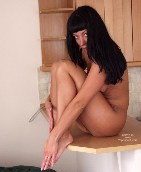 Long Dark Hair - Dark Hair , Long Dark Hair, Sitting On Counter, Totally Nude