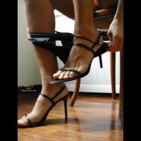 Strappy High Heels - Sexy Panties , Strappy High Heels, Black Panties, Feet Only, Removing Black Panties