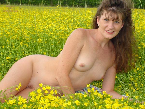 Nude In A Field - Long Hair, Small Tits , Nude In A Field, Small Tits, Long Brown Hair, Yellow Flowers Field, Smile In Field