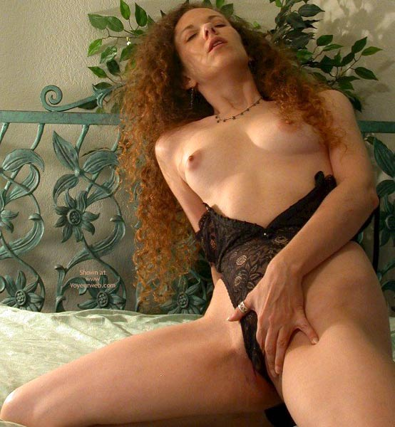 Topless In Black Lingerie - Perky Nipples , Topless In Black Lingerie, Perky Nipples, Getting In The Mood, Black Lingerie, Long Curly Hair